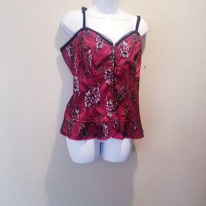 Torrid red/black floral corset w/front hooks